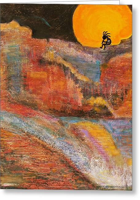 Anne-elizabeth Whiteway Greeting Cards - Kokopelli on a Marmalade Moon NIght Revisited Greeting Card by Anne-Elizabeth Whiteway