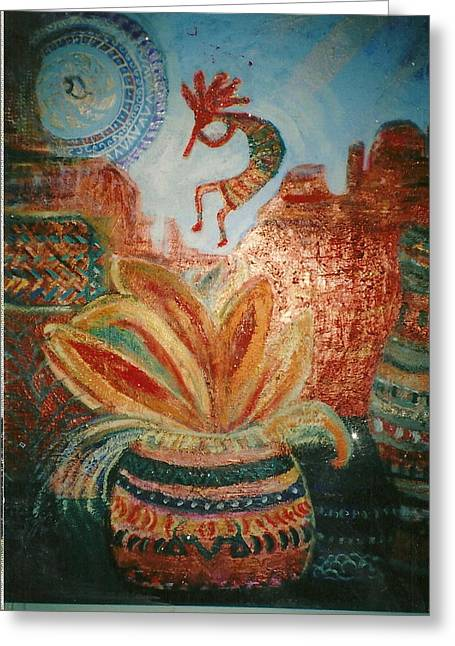 Lengend Greeting Cards - Kokopelli on Top of the World Greeting Card by Anne-Elizabeth Whiteway