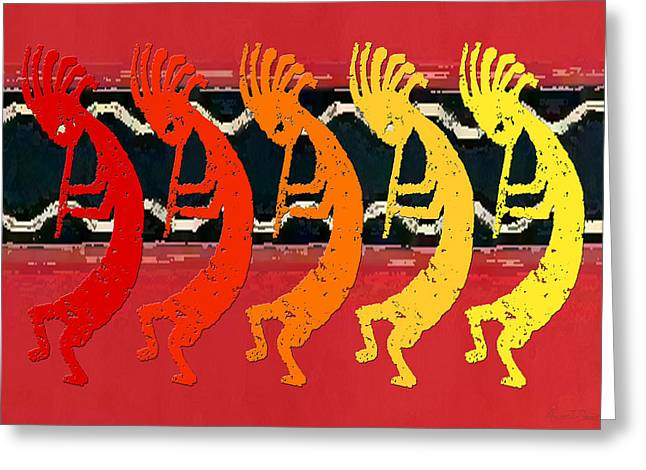 Kokopelli Quintet 4 Greeting Card by Robert J Sadler
