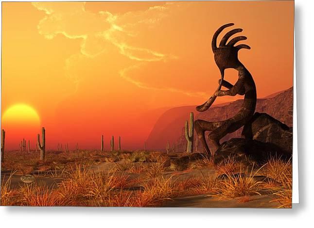 Symbology Greeting Cards - Kokopelli Sunset Greeting Card by Daniel Eskridge