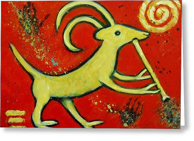 Primitive Greeting Cards - Kokopellis Goat Tribal Trickster Greeting Card by Carol Suzanne Niebuhr