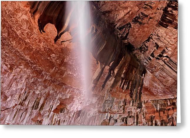 Kolob Canyons Waterfall Greeting Card by Leland D Howard