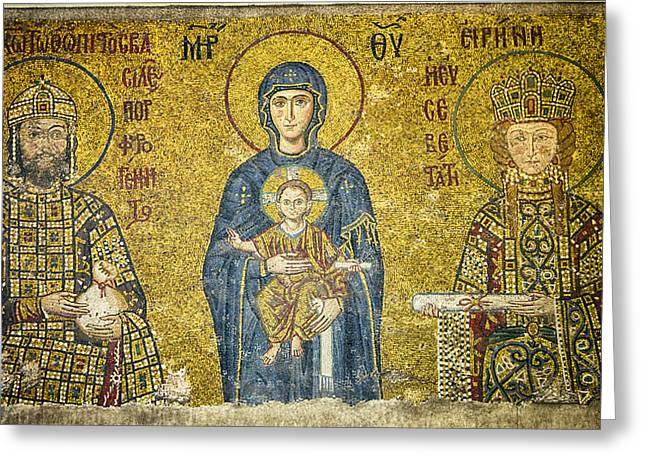 Icon Byzantine Greeting Cards - Komnenos Mosaic Greeting Card by Stephen Stookey