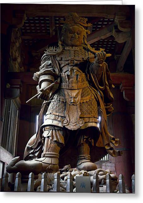 Shogun Photographs Greeting Cards - Komokuten Guardian King - Nara Japan Greeting Card by Daniel Hagerman