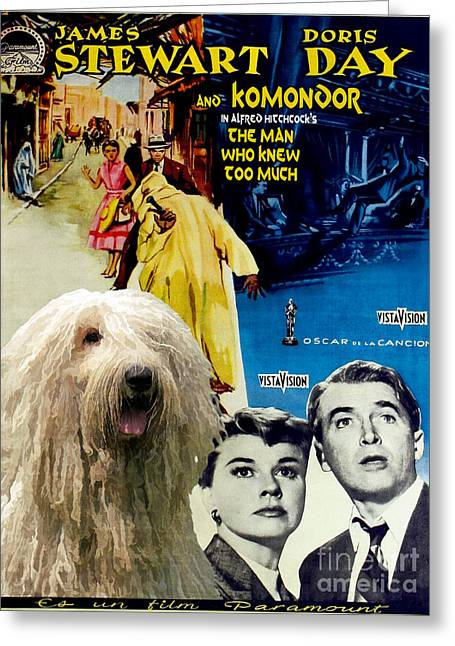 Man Who Knew Too Much Greeting Cards - Komondor Art Canvas Print - The Man Who Knew Too Much Movie Poster Greeting Card by Sandra Sij