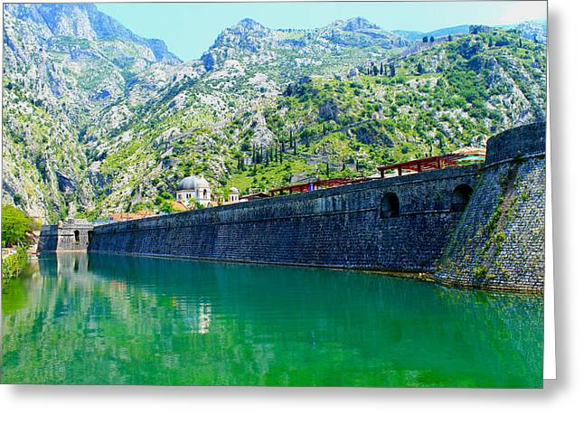 Moat Mountain Greeting Cards - Kompar Ramparts of Kotor Greeting Card by Saya Studios