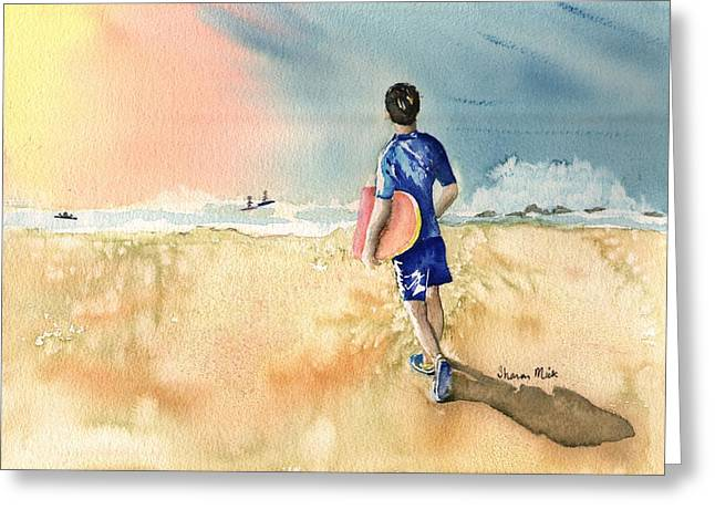 Water Color Greeting Cards - Kona Hawaii Boy Surfing Greeting Card by Sharon Mick