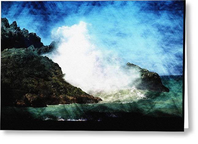 Blue Green Wave Greeting Cards - Kona Sea Greeting Card by Athala Carole Bruckner