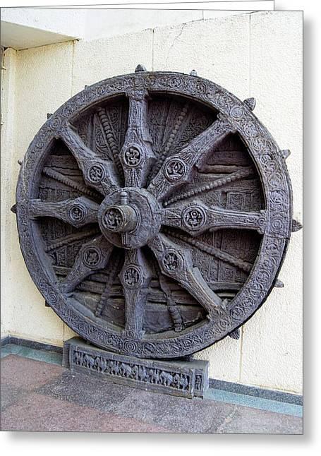 Konark Wheel 'sun Clock' Greeting Card by Mark Williamson