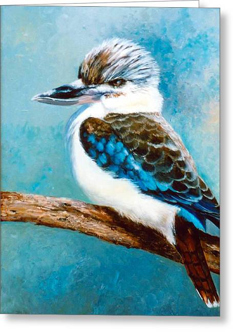 Australian Native Bird Greeting Cards - Kookaburra oil painting Greeting Card by Jan Matson
