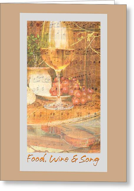 Wine-glass Greeting Cards - Food Wine and Song Greeting Card by Brooks Garten Hauschild