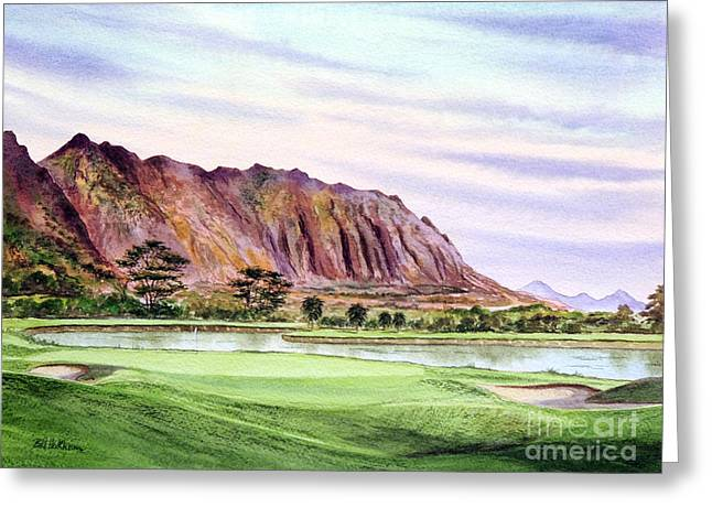 Clubhouse Greeting Cards - Koolau Golf Course Hawaii 16Th Hole Greeting Card by Bill Holkham