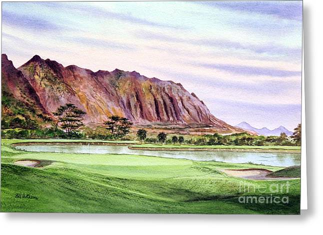 North Shore Paintings Greeting Cards - Koolau Golf Course Hawaii 16Th Hole Greeting Card by Bill Holkham