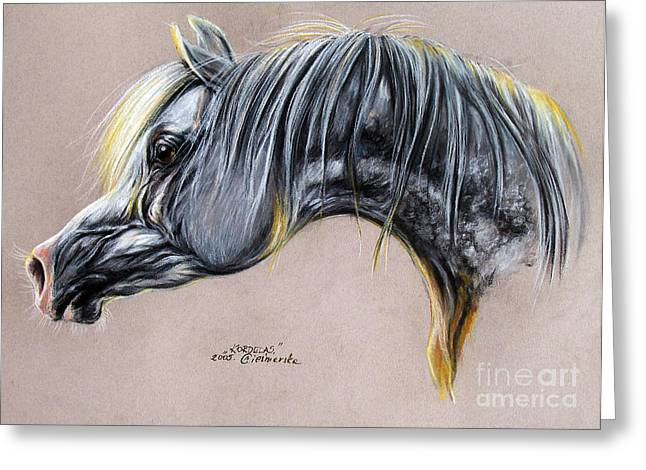 White Horse Pastels Greeting Cards - Kordelas polish arabian horse soft pastel Greeting Card by Angel  Tarantella