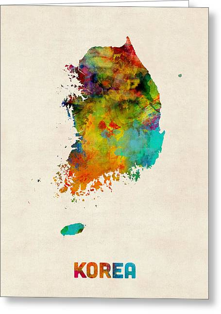 Korean Greeting Cards - Korea Watercolor Map Greeting Card by Michael Tompsett