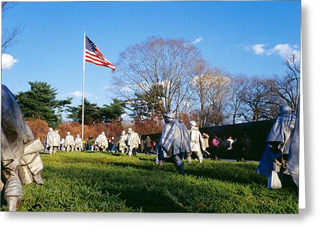 American Flag Photography Greeting Cards - Korean Veterans Memorial Washington Dc Greeting Card by Panoramic Images