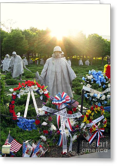 Korean Greeting Cards - Korean War Memorial in DC Greeting Card by Olivier Le Queinec