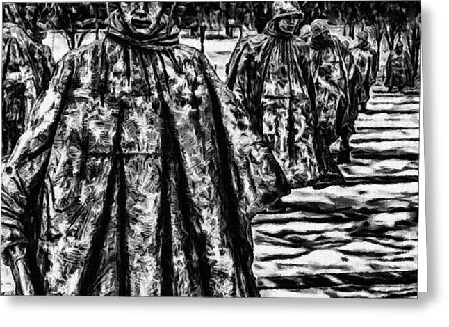 5th Regiment Greeting Cards - Korean War Memorial Painting Greeting Card by  Bob and Nadine Johnston