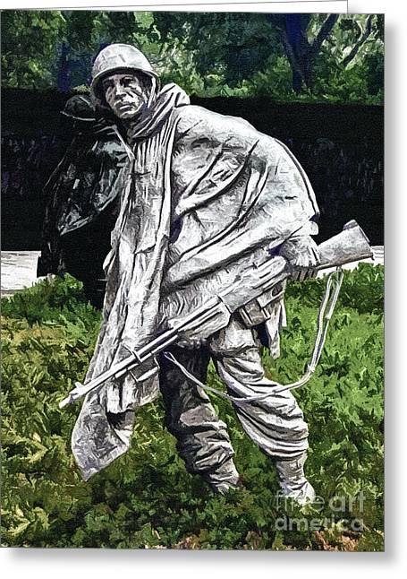 Division Greeting Cards - Korean War Veterans Memorial  BARman Greeting Card by  Bob and Nadine Johnston