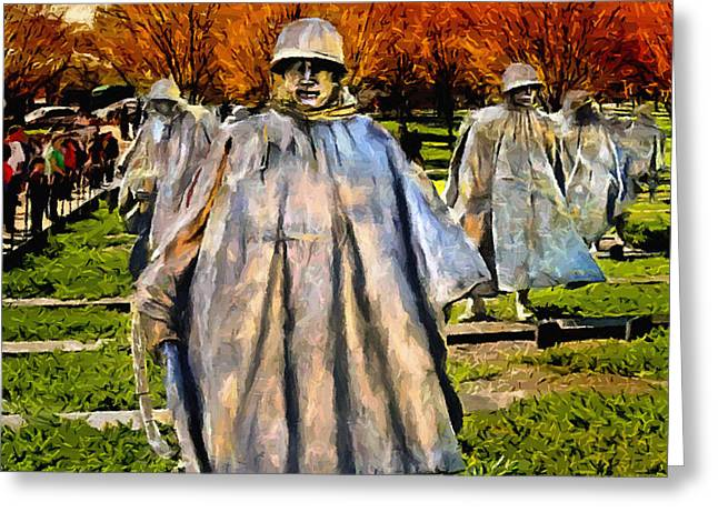 Brigade Greeting Cards - Korean War Veterans Memorial Sunset Greeting Card by  Bob and Nadine Johnston