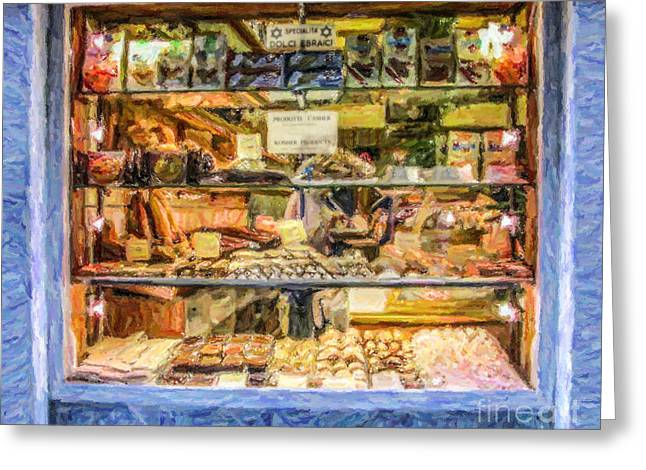 Venezia Greeting Cards - Kosher Bakery and Grocery Volpe Greeting Card by Liz Leyden