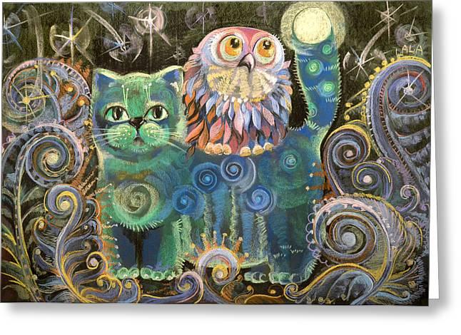 Magic Pastels Greeting Cards - Kot Bayun aka Cat the Luller  Greeting Card by Natalia Lvova