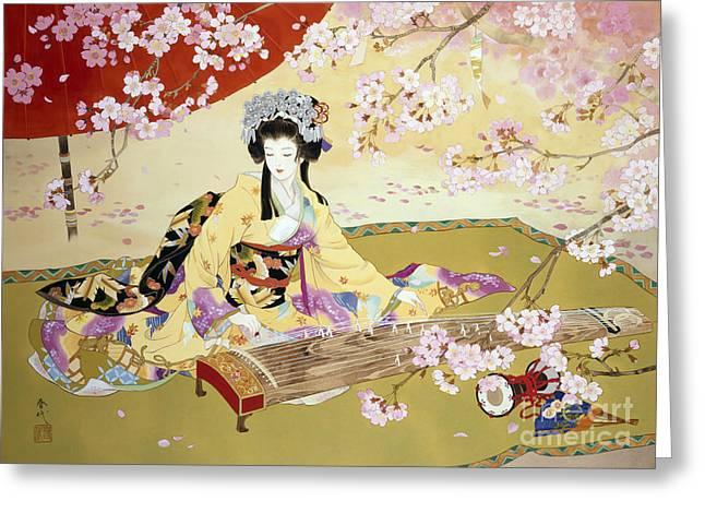 Cherry Women Greeting Cards - Kotono Greeting Card by Haruyo Morita