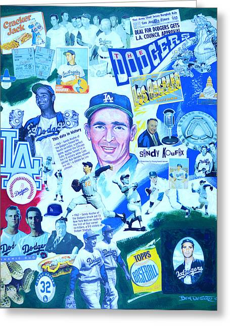 Recently Sold -  - Baseball Art Greeting Cards - Koufax Super 60s Greeting Card by Ben De Soto