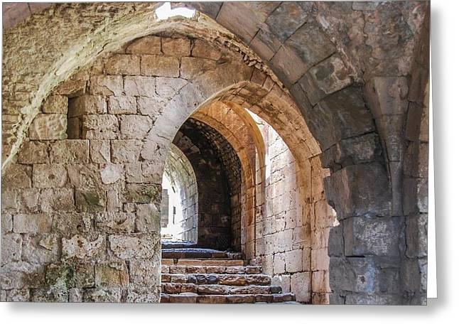 Chevalier Greeting Cards - Krak des Chevaliers Interior Greeting Card by Peggy Blackwell