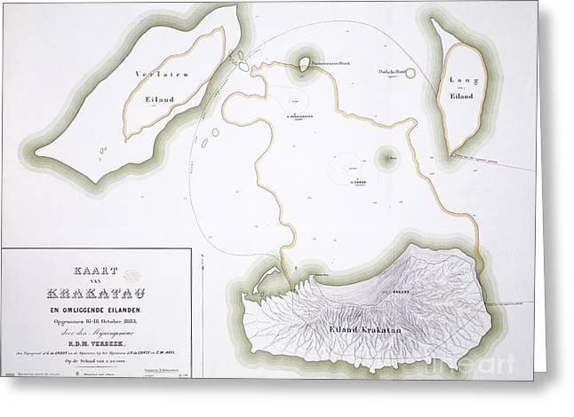 Post Disaster Greeting Cards - Krakatoa Map, 1885 Greeting Card by Natural History Museum, London
