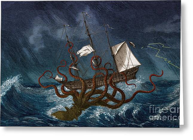 Marine Creatures Greeting Cards - Kraken Attacking Ship, 1700 Greeting Card by Science Source