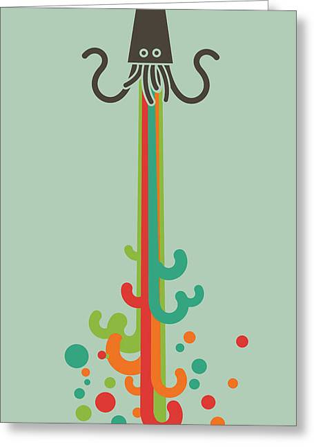 Giant Squid Greeting Cards - Kraken Time Greeting Card by Budi Kwan