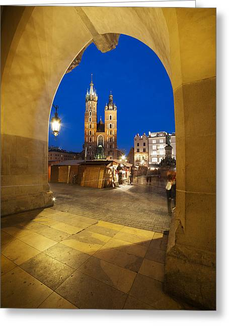 Polish Old Town Greeting Cards - Krakow by Night Greeting Card by Artur Bogacki
