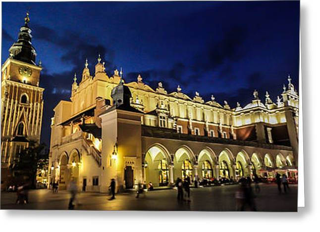 Krakow Greeting Cards - Krakow by night Greeting Card by Ian Hufton