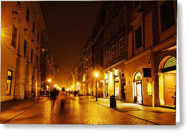 Polish Culture Greeting Cards - Krakow street at night Greeting Card by Roksana Bashyrova