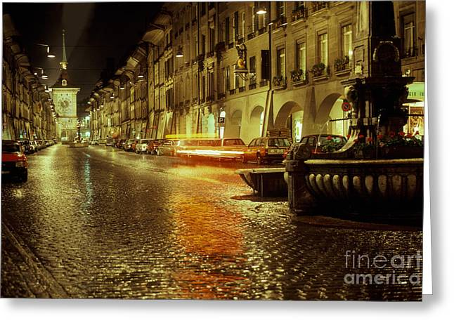 Main Street Greeting Cards - Kramgasse, Bern, Switzerland Greeting Card by Ron Sanford