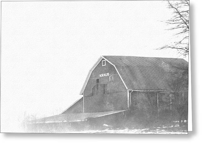 Outbuildings Drawings Greeting Cards - Kraus Barn  Greeting Card by Rosemarie E Seppala