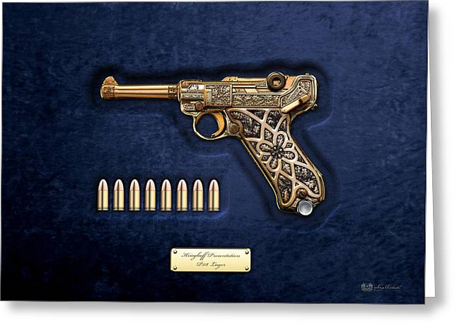 Goering Greeting Cards - Krieghoff Presentation P.08 Luger with Ammo over Blue Velvet  Greeting Card by Serge Averbukh