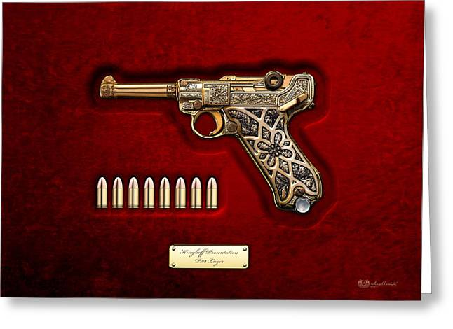 Goering Greeting Cards - Krieghoff Presentation P.08 Luger with Ammo over Red Velvet  Greeting Card by Serge Averbukh