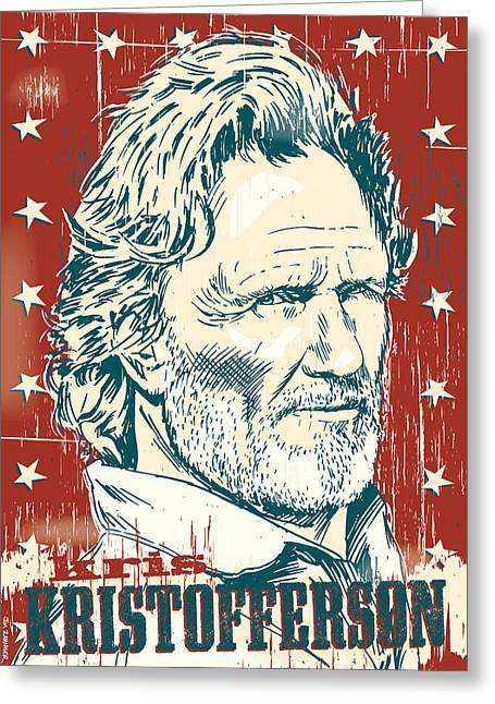 Outlaws Greeting Cards - Kris Kristofferson Pop Art Greeting Card by Jim Zahniser