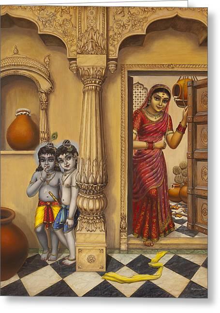 Krishna Greeting Cards - Krishna and Ballaram butter thiefs Greeting Card by Vrindavan Das