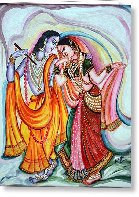 Fantacy Greeting Cards - Krishna and Radha Greeting Card by Harsh Malik