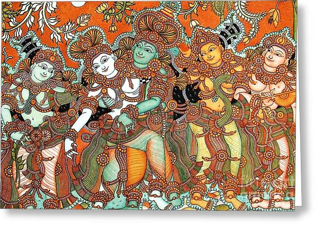 Kerala Murals Greeting Cards - Krishna and Radha Greeting Card by Pg Reproductions