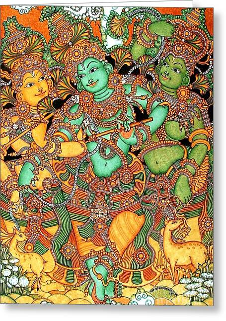 Kerala Murals Greeting Cards - Krishna and the Gopis Greeting Card by Pg Reproductions