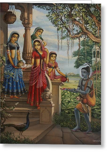 Gopi Greeting Cards - Krishna as Shaiva sanyasi  Greeting Card by Vrindavan Das