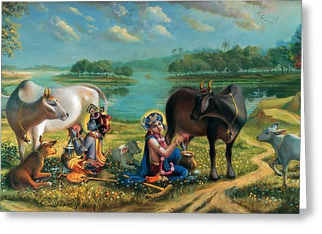 Gopi Greeting Cards - Krishna Balaram milking cows Greeting Card by Vrindavan Das