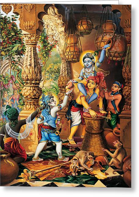 Krishna Balaram Stealing Butter Greeting Card by Vrindavan Das