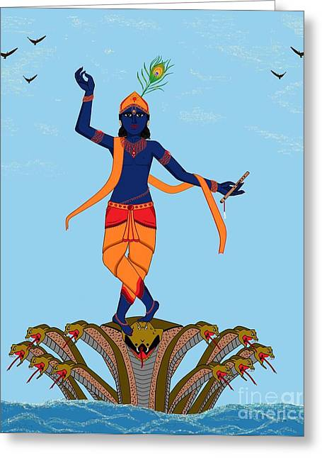 Gopala Greeting Cards - Krishna Dancing on Kaliya Greeting Card by Pratyasha Nithin