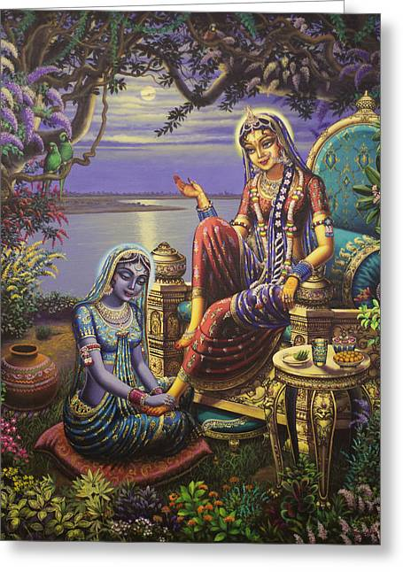 Samadhi Greeting Cards - Krishna disguised as gopi Greeting Card by Vrindavan Das