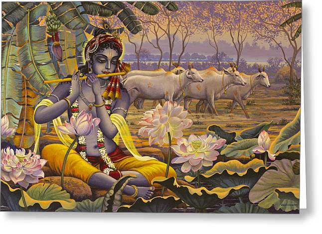 Krishna Greeting Cards - Krishna. Evening flute Greeting Card by Vrindavan Das